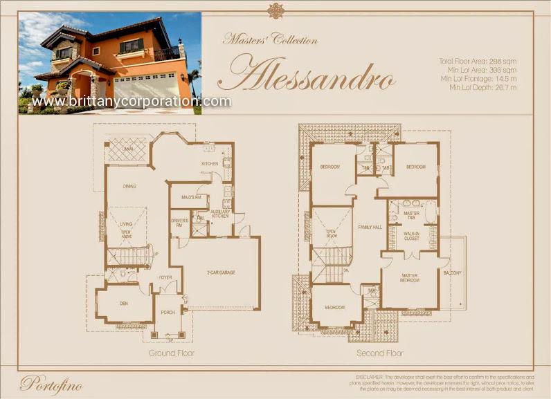 Floor Plan of Antonello Model - Amore Portofino   House and Lot for Sale Daang Reyna Las Pinas