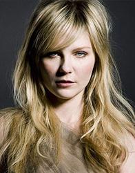 Kirsten Dunst, rosto redondo, de franja