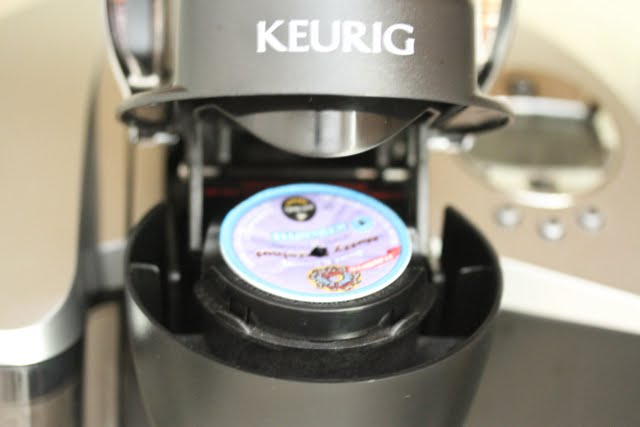 photo of k-cup in a keurig coffee maker