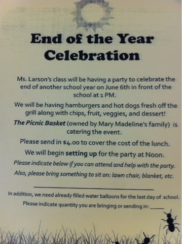 Ms LarsonS Rd Grade Class End Of Year Celebration Letter