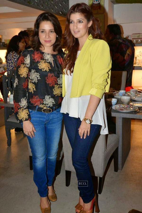 Neelam and Twinkle Khanna during the preview of Flower Power Collection, held at The White Window store, in Mumbai, on July 31, 2014. (Pic: Viral Bhayani)