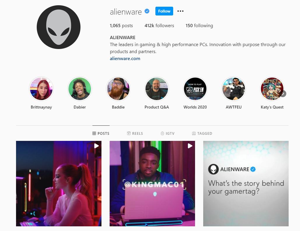 Alienware Instagram profile