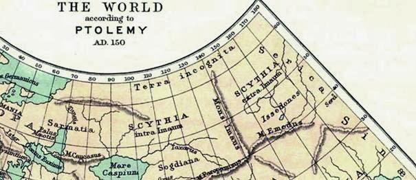Рис. 9. Карта Птолемея (фрагмент), 150 г. н.э.