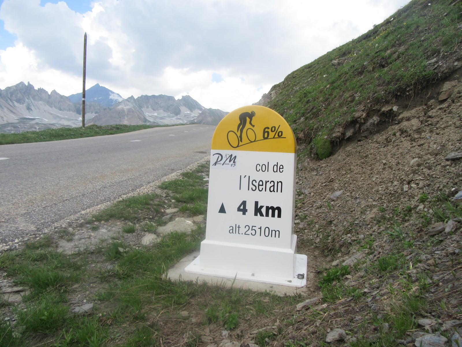 Bicycle ride of Col de L'Iseran from Val d'Isère - km marker and road