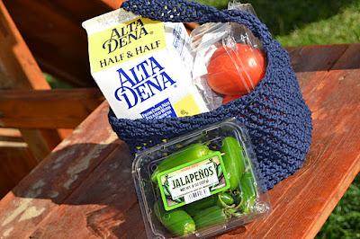 Crochet Blue Market Bag