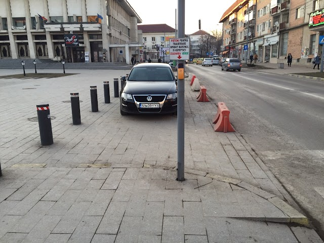 Mașina vicepreședintelui CJ Suceava Ilie Niță parcată ilegal în centrul târgului