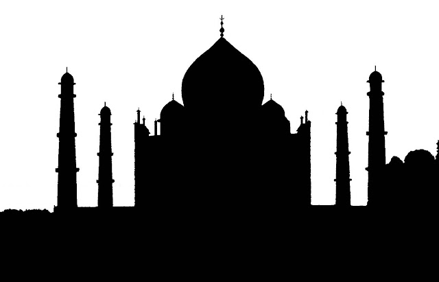 taj mahal silhouette white background