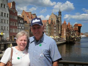 Marilyn and Skip on a bridge over the Motlawa River in Gdansk