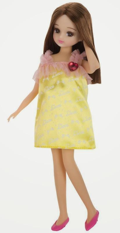 Búp bê Licca thời trang váy vàng với mái tóc nâu trẻ trung