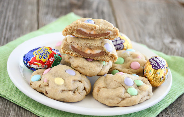 a plate of cookies with creme eggs