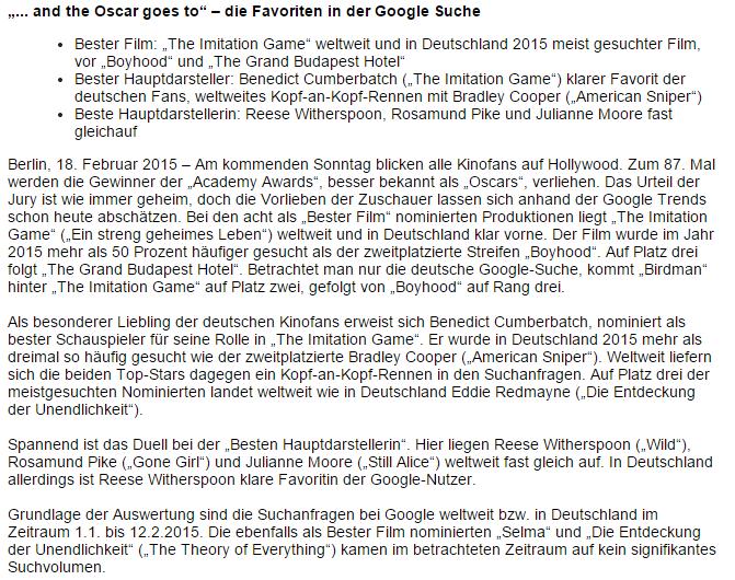 Google Pressemitteilung
