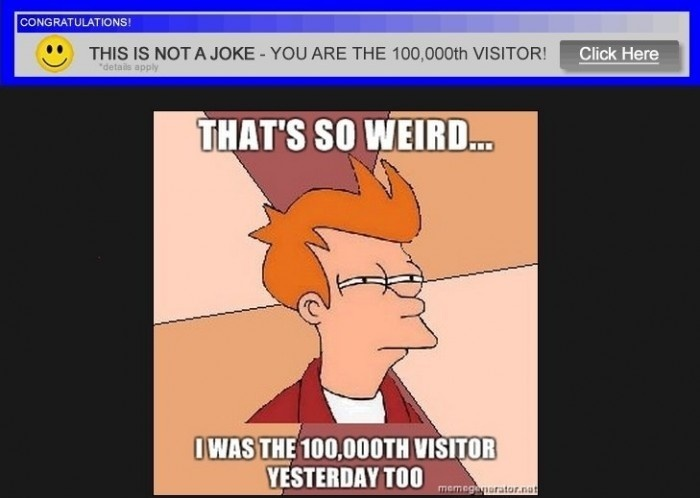 That's So Weird, I Was 100,000th Visitor Yesterday Too