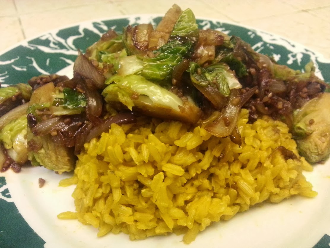 Soy-ginger Brussels Sprouts over Turmeric Brown Rice - Daniel Fast - From Bigmista