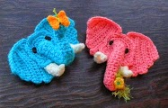 Free Crochet Pattern - 3D Worsted Elephant Applique