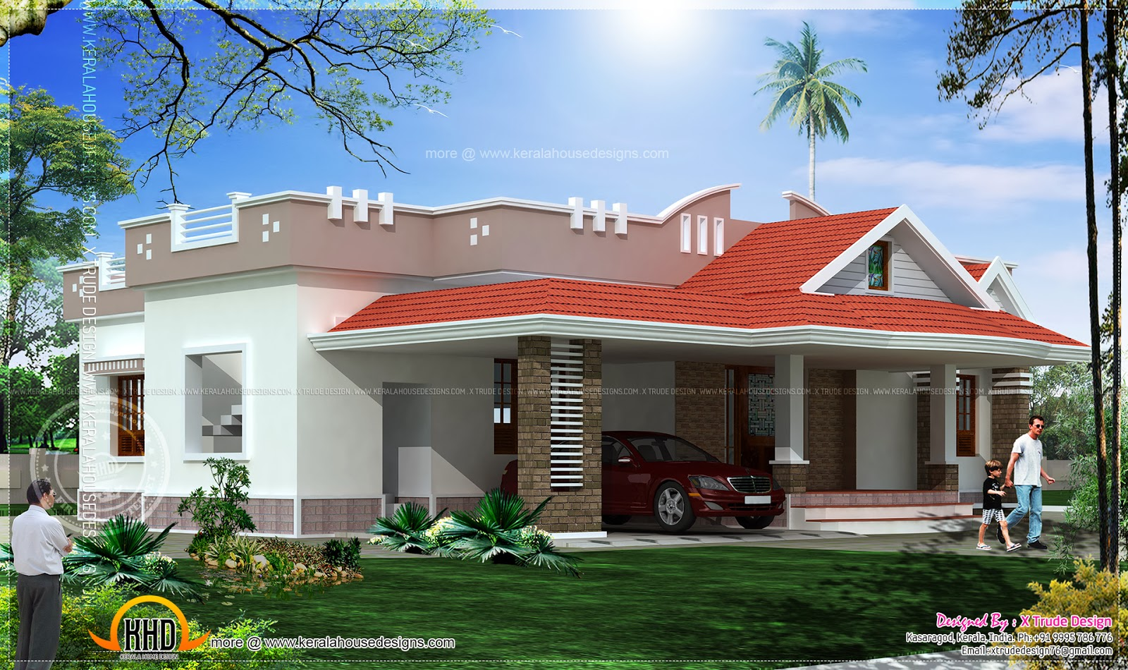 Single storied 2 bedroom house elevation kerala home for Single floor 4 bedroom house plans kerala