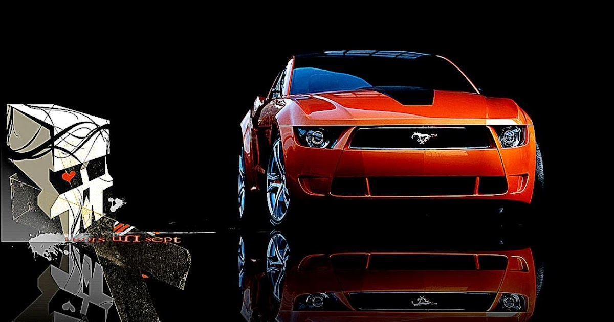 Elegant Red Classic Ford Mustang With Logo Wallpaper Image