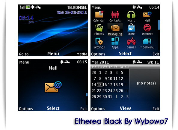 Etherea Black Theme for Nokia C3-00 Asha 200