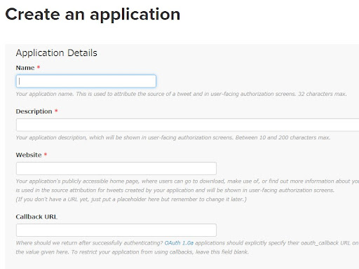 [スクリーンショット]Twitterのアプリケーション登録画面