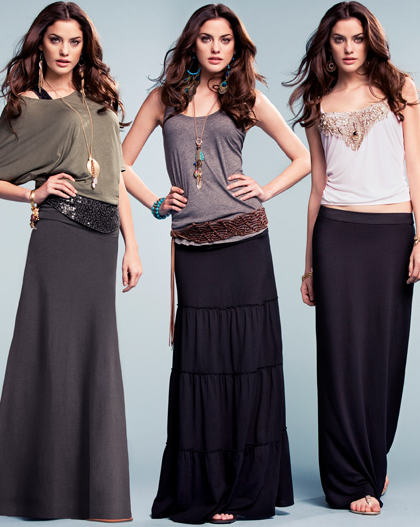 Maxi length dresses and skirts
