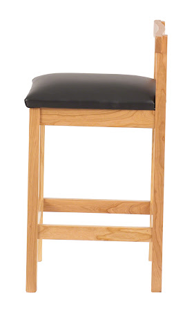 Takara Barstool in Natural Cherry with Rounded Leather Seat