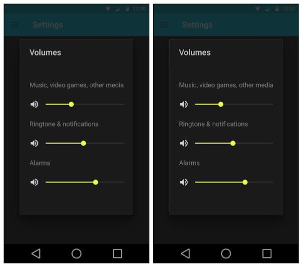 Google Material Design: settings, dark