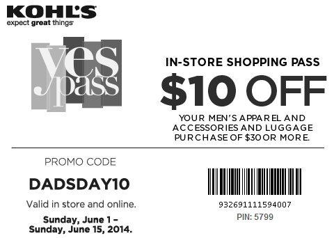 Kohl's Dad's day 2014 coupon