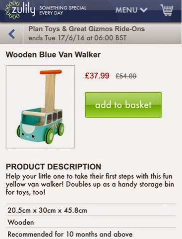blue Wooden push along Campervan Camper van baby walker by plan toys