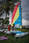 Andrea and Emiliano raising the sails before we head out on the lake