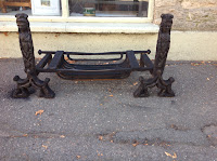 384h - Late Victorian cast iron set fire dogs and grate £250.00 set