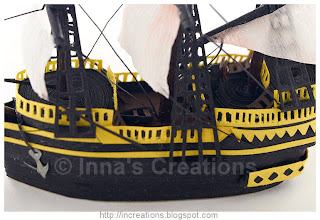 Quilled galleon detail - lifeboat