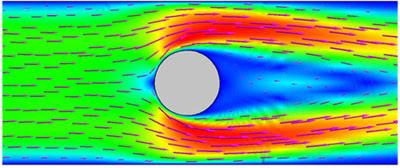 Взаимодействие жидкости с ферромагнитными частицами с внешним магнитным полем electromagnetics@cfx. Поле скоростей в жидкости