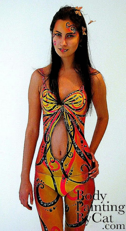 Butterfly dress body paint by Bodypaintingbycatdot on DeviantArt