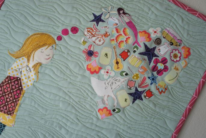 Quilt Featuring Little Girl with Heart Thought Bubble
