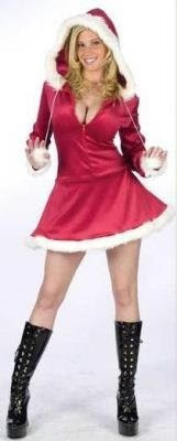 Sexy Mrs. Claus Hooded Christmas Costume - Women's Size Medium/Large 10-14