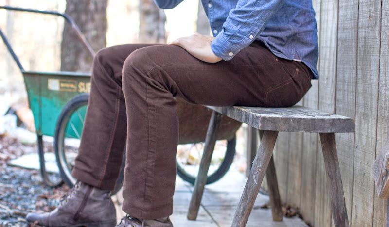 Brown Moleskin Pants: Sitting in blue Shirt