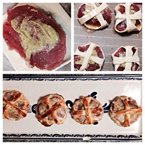 Cestillos de solomillo de cerdo con cebolla caramelizada y mostaza de pimienta verde