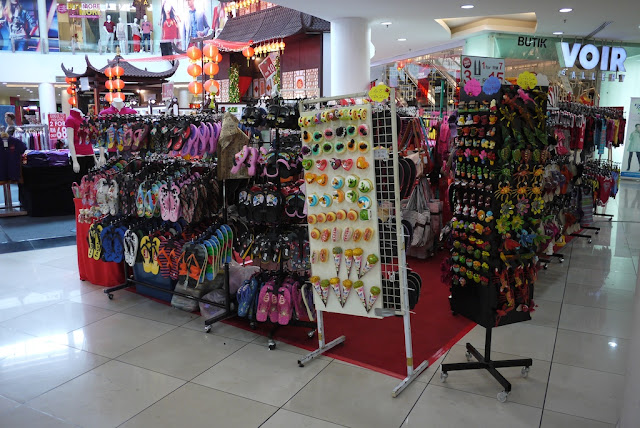 stall selling a variety of items in a mall in Melaka, Malasia