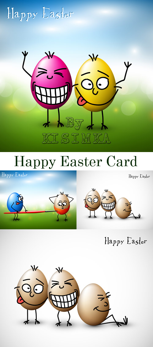 Stock: Funny easter eggs - Happy Easter Card