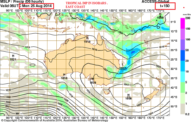 25th Aug 2014 rain event east coast OZ