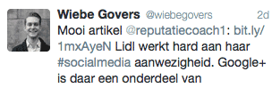 Tweet van Wiebe Govers; social media specialist van Lidl