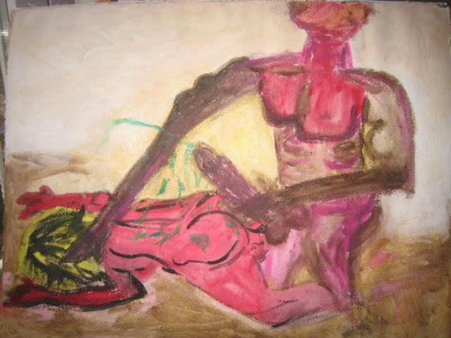 Hombre eyaculando semen verde con superioridad y distancia sobre la espalda de una mujer a la que reduce y somete por Emebezeta