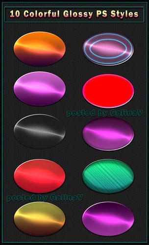 Яркие разноцветные глянцевые стили для Photoshop