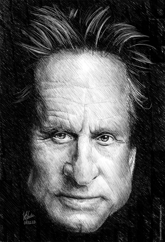 Caricature of Michael Douglas, using Krita.
