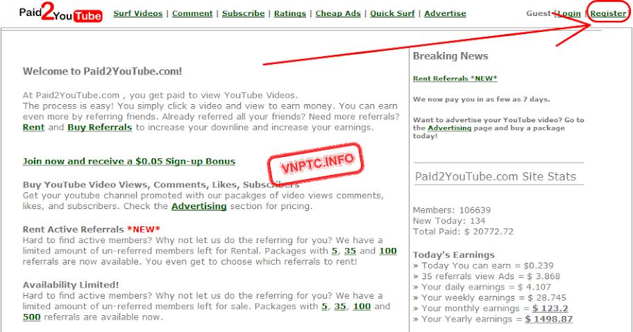 kiếm tiền trên mạng với Paid2youtube