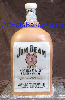 Custom 3D sculpted men's birthday cake with sugar print Jim Bean bourbon whiskey bottle label