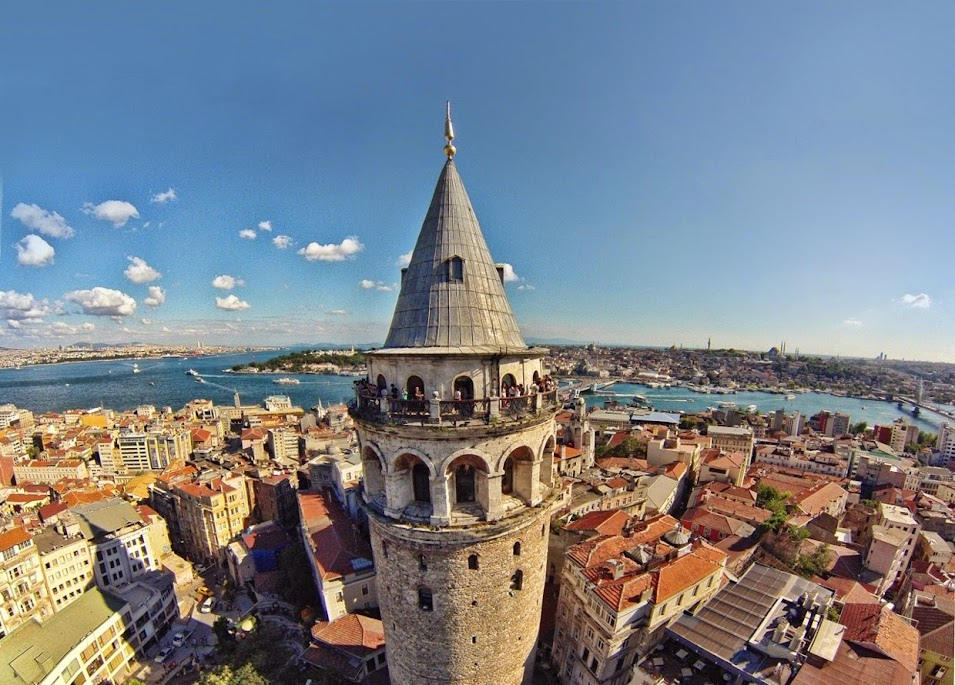 galata tower drone shot, old city istanbul