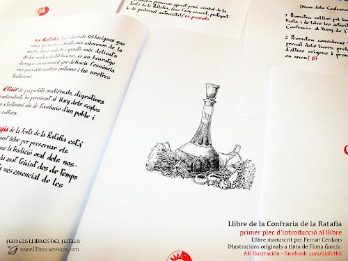 Plec de receptes del Llibre de la Confraria de la Ratafia, fet a mà a Llibres Artesans