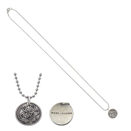Marc by Marc Jacobs Coin Necklace Good Luck Bats - Antique Silver
