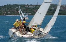 J/22 sailboat- sailing upwind off Jamaica
