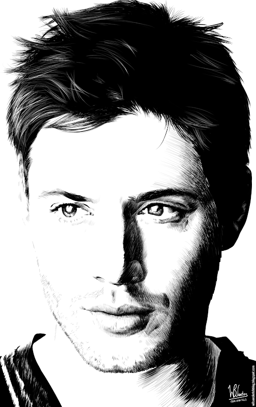 Ink drawing of Jensen Ackles, using Krita 2.4.